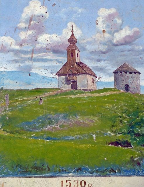 Painting of St. Francis Assisi Church and the adjacent tower at Nyalab Castle