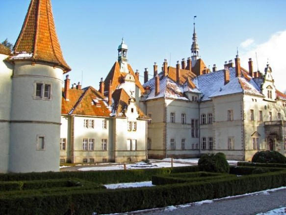 Schonborn Castle with a winter coating of snow