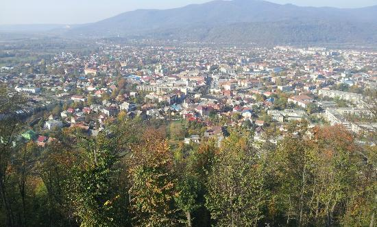 View of Khust from Zamkova (Castle) Hill