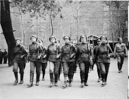 Russian female soldiers marching