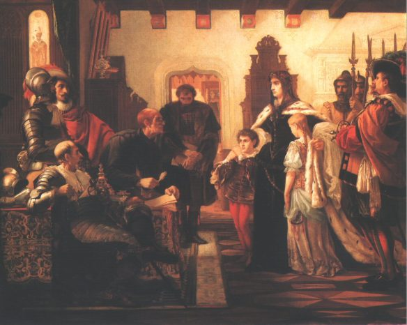 Ilona Zrínyi in the Munkács Castle - painting by Victor Madarász