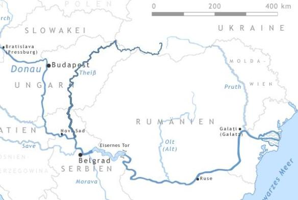 Map of the Tisza River and the southern part of the Danube
