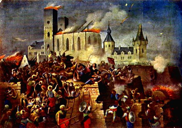 Siege of Eger Castle - Painting by Béla Vizkelety