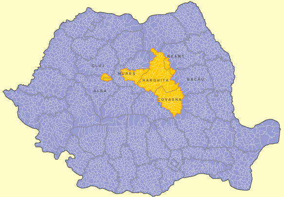 Szekely populated areas in Romania