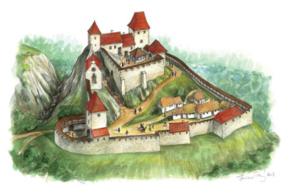 Csokako Castle - an artistic rendering as it looked during the late Middle Ages