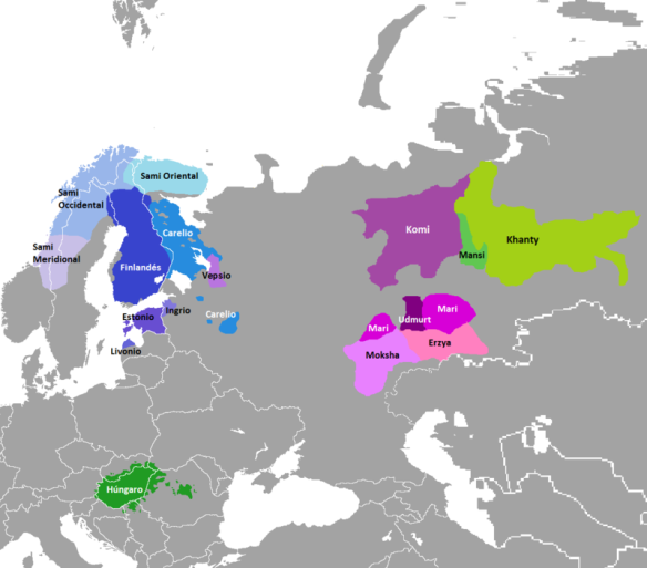 Current distribution of Finno-Ugric languages
