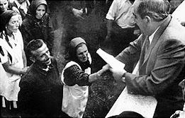 Imre Nagy distributing land to peasants in 1945