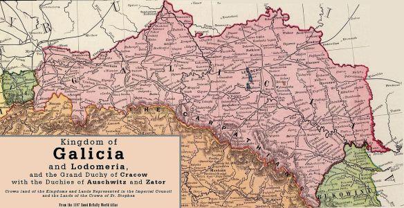 19th century map of Galicia
