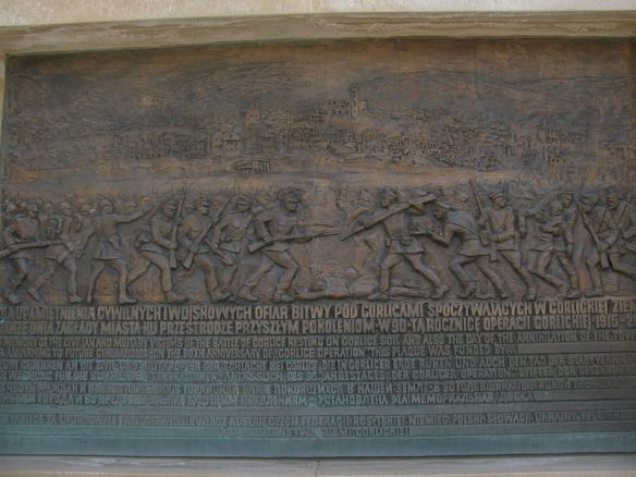 A plaque in Gorlice commemorating the victims of the  World War I battle