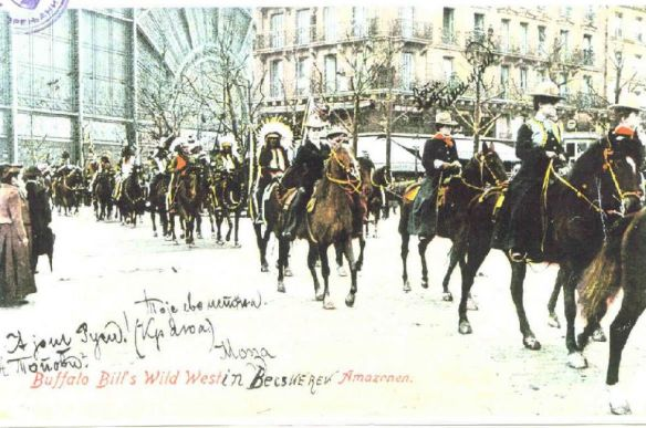 Buffalo Bill's Wild West Show rides through the streets of Budapest in 1906 (Olivér Percel Collection)