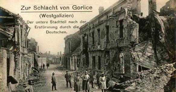 German postcard showing war damage in Gorlice - the town was destroyed and had to be rebuilt