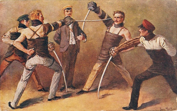 German students fighting a saber duel in 1900