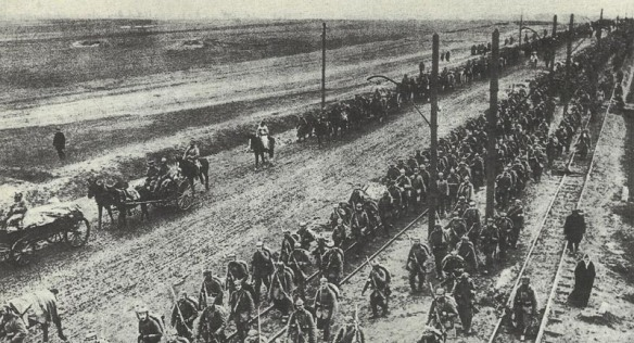 Germans and Austro-Hungarian forces on the move during the Gorlice-Tarnow Offensive