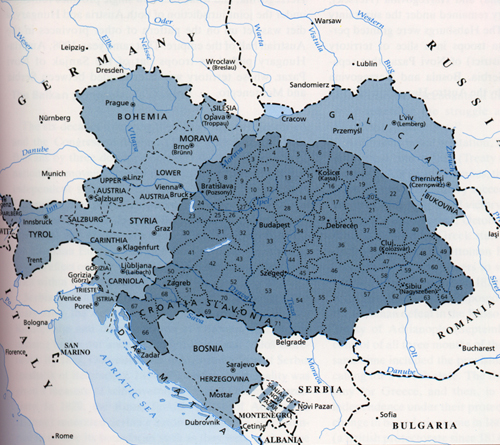 Map of Austro-Hungarian Empire before World War I - Croatia-Slavonia was under the Hungarian part of the empire