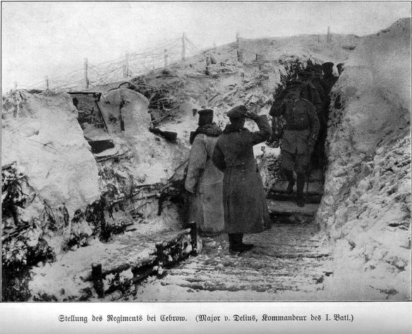 Officers saluting at a trench on Zwinin