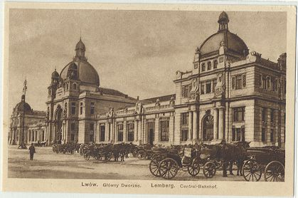 Lemberg Railway Station - historic postcard