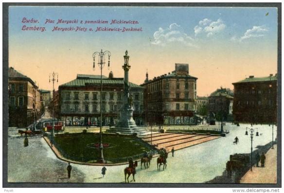 Mickiewicz Column in Mariyska Square, Lwow