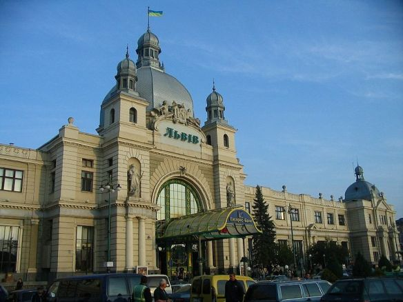 The exterior facade of the Lviv Railway Station