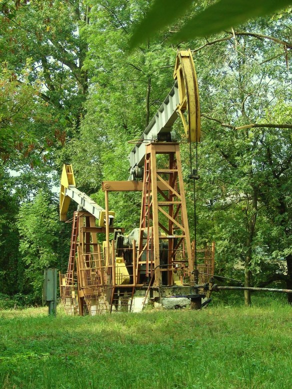 Oil wells in a park at Boryslav, Ukraine