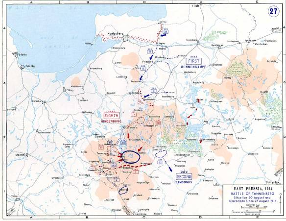 Map of the Battle of Tannenberg
