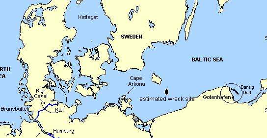 Wilhelm Gustloff shipwreck site in the Baltic Sea