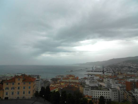 A storm over the harbor in Trieste