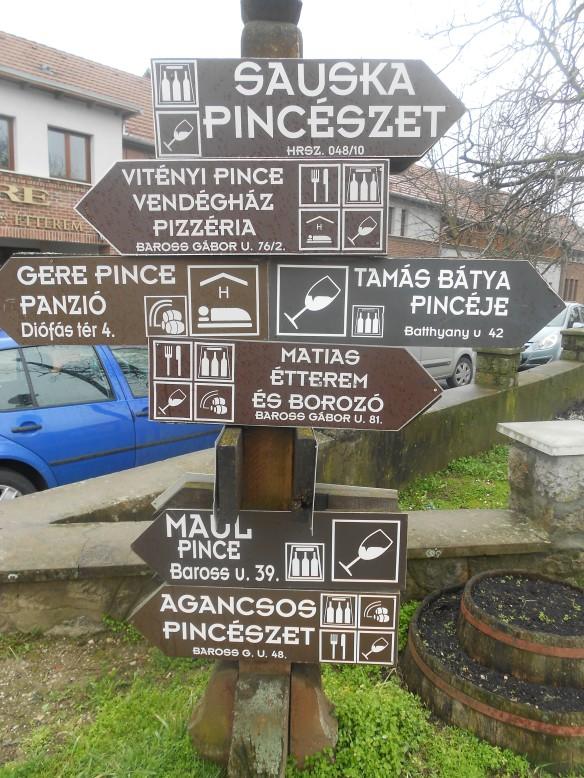 Villány wine cellars directional sign