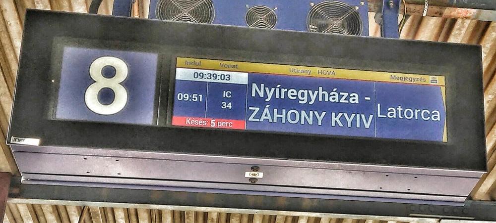 Railway platform sign in Debrecen, Hungary