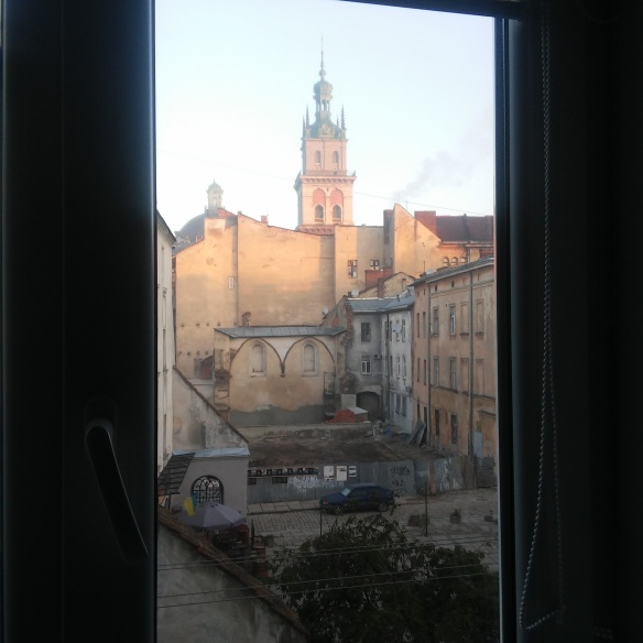 View of the site of the Golden Rose Synagogue from an apartment window above Bratan Rohatynsiv street