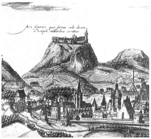 17th century engraving of High Castle towering above Lviv