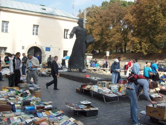 Open air book market at the Fedorov Statue in Lviv