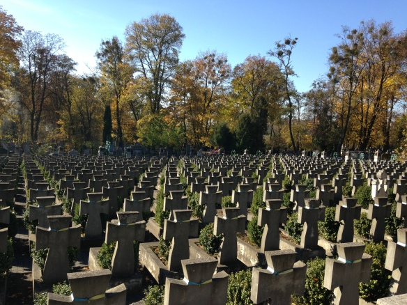 Graves in memorial to Ukrainian soldiers killed in Ukrainian-Polish war