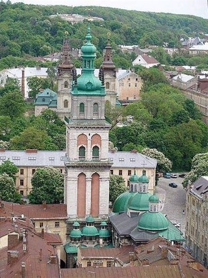Lviv's Dormition Church with the Korniakt Tower soaring above it