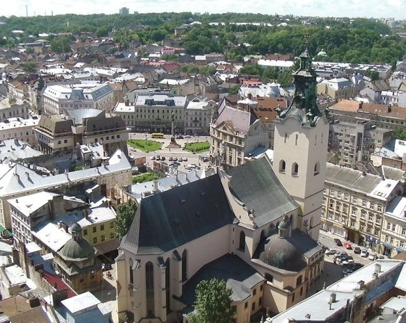 Looking down on the Latin Cathedral as seen from the top of Lviv's Ratusha (Town Hall)