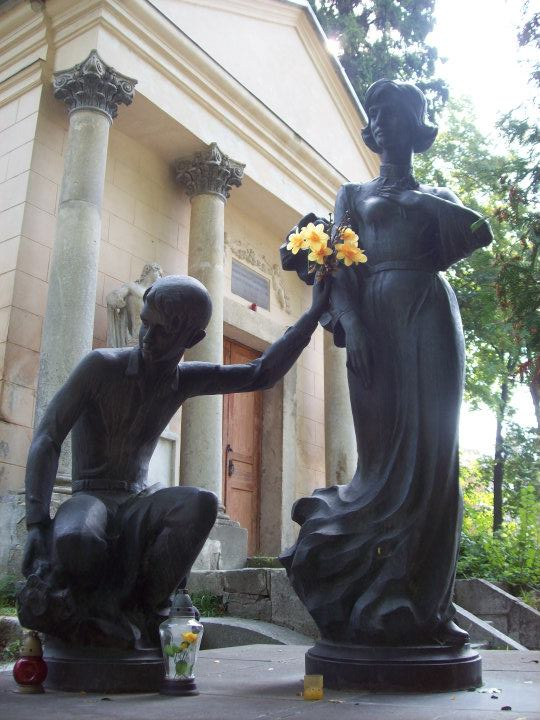 Sculpture at Lychakiv Cemetery in Lviv