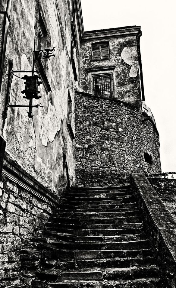 Staircase on the exterior of Olesko Castle