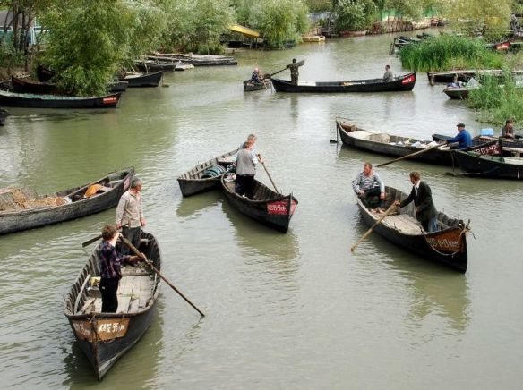 City traffic in Vylkove - the Ukranian Venice