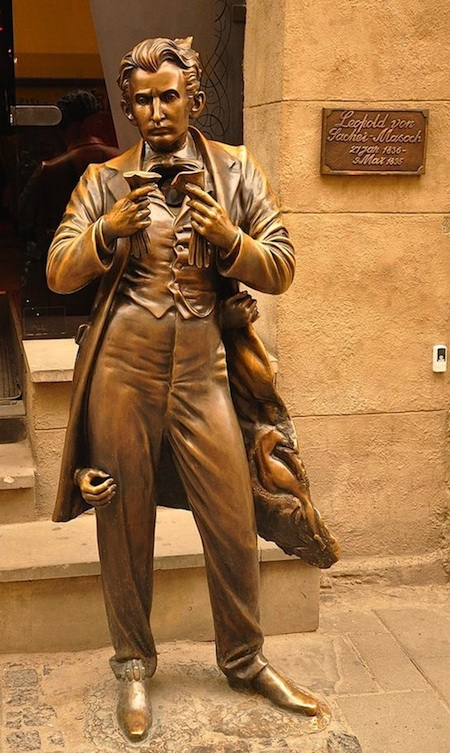 Statue of Leopold von Sacher-Masoch on Serbska Street in Lviv