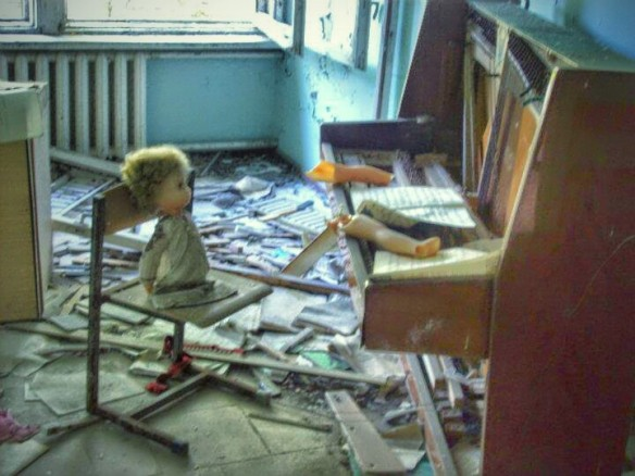 Doll at a piano in Middle School Number 3 in Pripyat