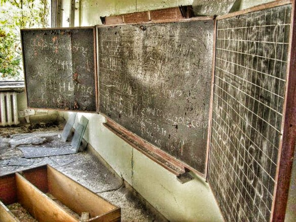 Chalkboard in a classroom at Middle School Number 3 in Pripyat