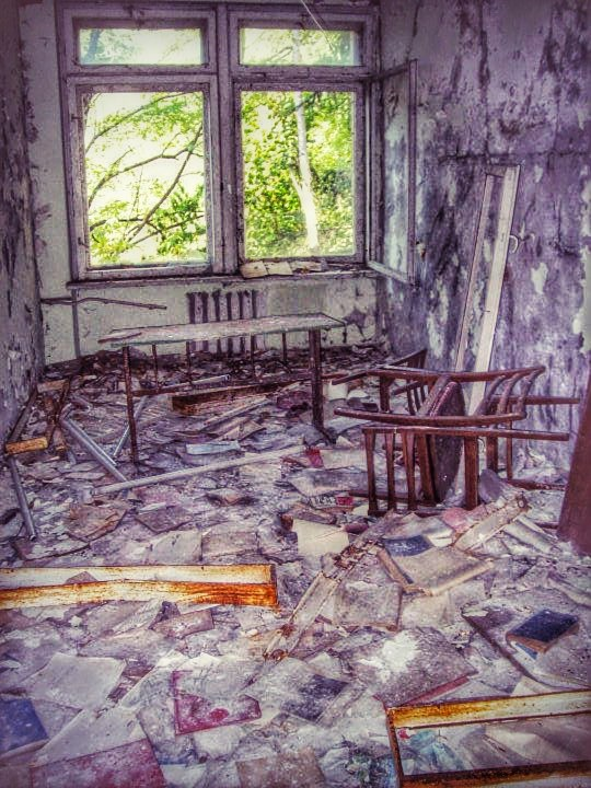 Former classroom ravaged by radiation, looters and time