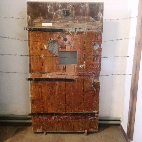 Prison cell door from Soviet occupation period at Zolochiv Castle