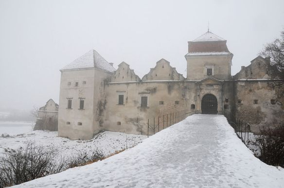 Entrance to Svirzh Castle in winter