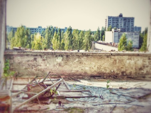 View from a balcony - at Pripyat's abandoned hotel