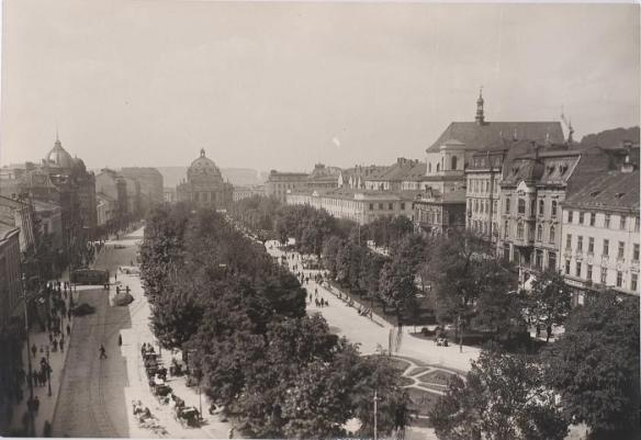Early 20th century photo of the main promenade in Lviv