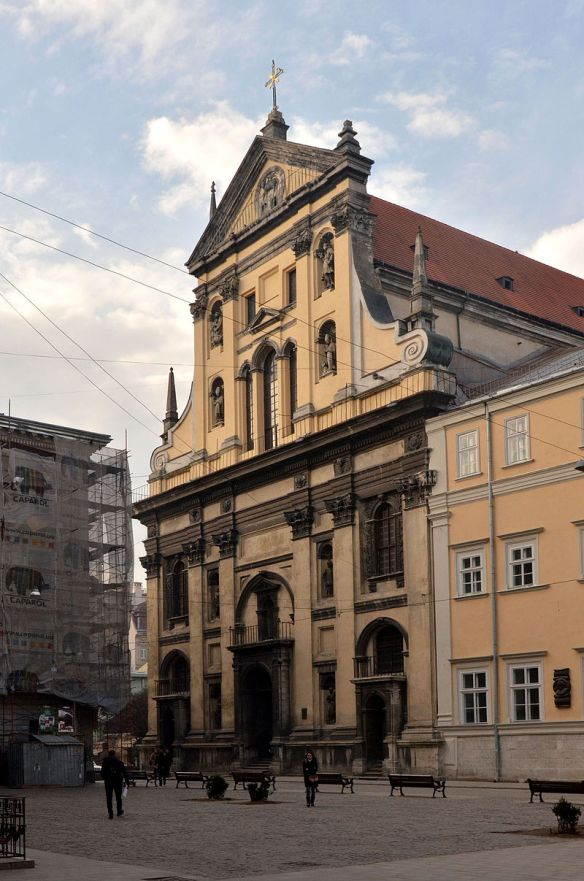 Facade of Sts. Peter & Paul Garrison Church (Jesuit Church) in Lviv