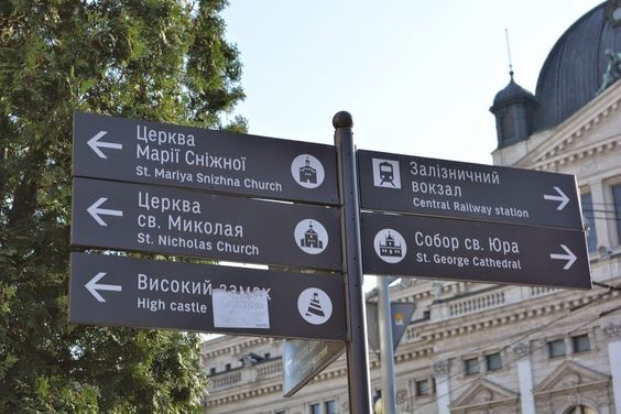 Lviv directional signpost