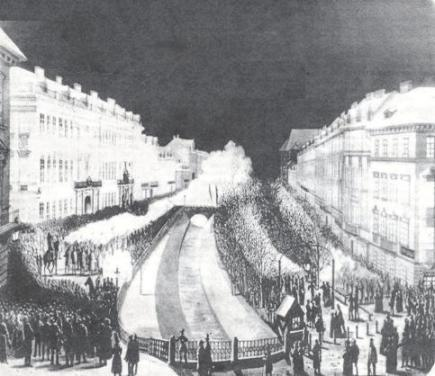 Lviv's main promenade in 1853 - before the Poltva River was covered