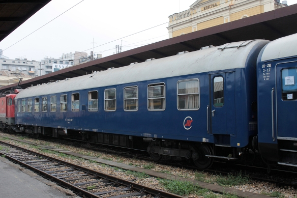 Serbian sleeper car at the Belgrade Railway Station