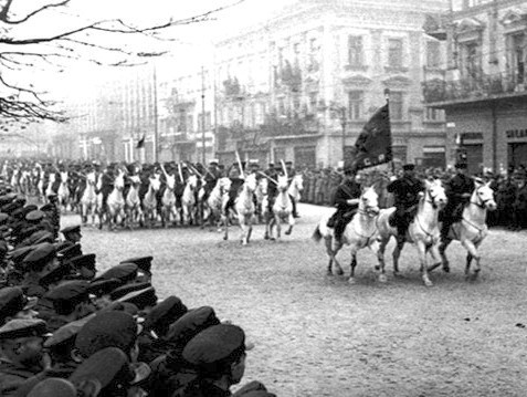Soviet cavalry on parade in Lwów